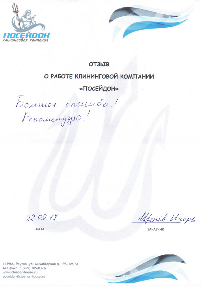 Клининговая компания и отзыв об уборке №313644
