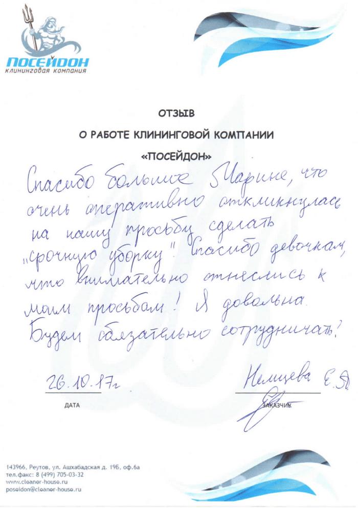 Клининговая компания и отзыв об уборке №102519