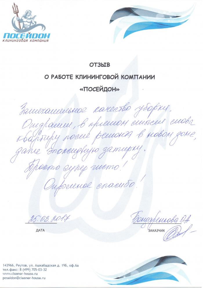 Клининговая компания и отзыв об уборке №130184